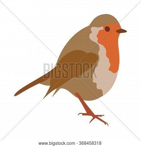 Cute Robin Bird Vector Illustration In Flat Style. Cartoon Little Colorful Robin Bird Isolated On Wh