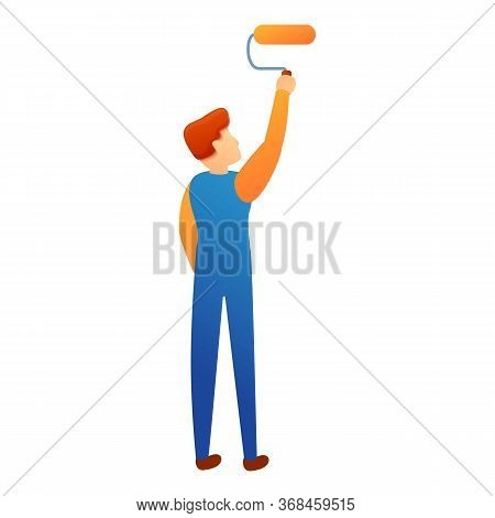 Man Painted Roller Icon. Cartoon Of Man Painted Roller Vector Icon For Web Design Isolated On White