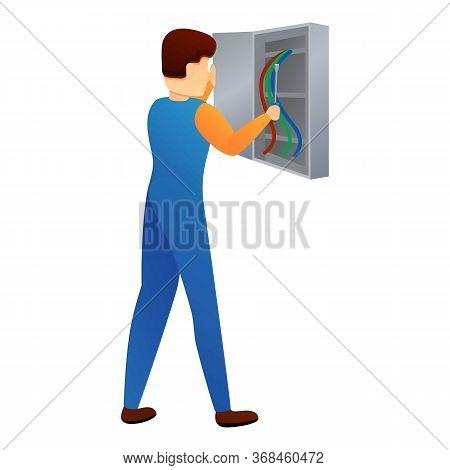 Repairman In Electric Box Icon. Cartoon Of Repairman In Electric Box Vector Icon For Web Design Isol