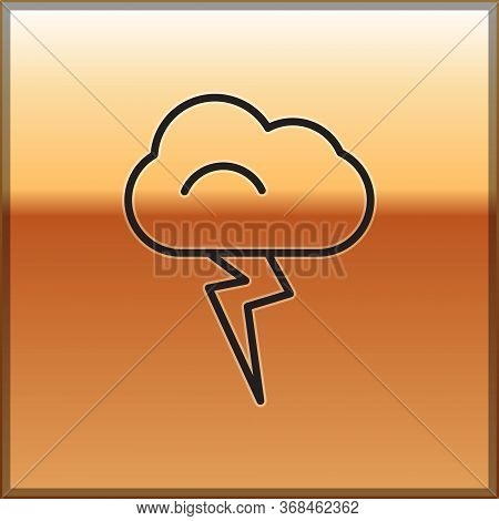 Black Line Storm Icon Isolated On Gold Background. Cloud And Lightning Sign. Weather Icon Of Storm.