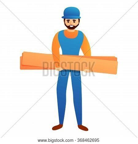 Repairman With Wood Bar Icon. Cartoon Of Repairman With Wood Bar Vector Icon For Web Design Isolated