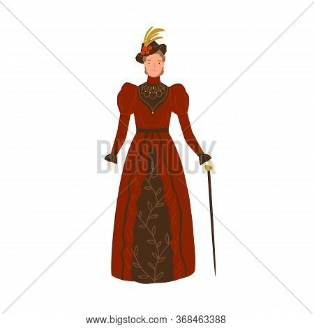 Elegant Smiling Woman Wearing Retro Style Apparel Vector Flat Illustration. Adorable Female Standing