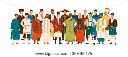 Group Of Diverse Smiling Man Wearing In Folk Costumes Of Various Countries Vector Flat Illustration.