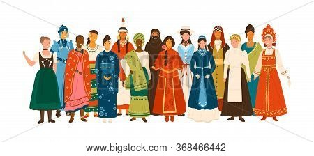 Smiling Diverse Female In National Ethnic Clothes Vector Flat Illustration. Multinational Group Of H