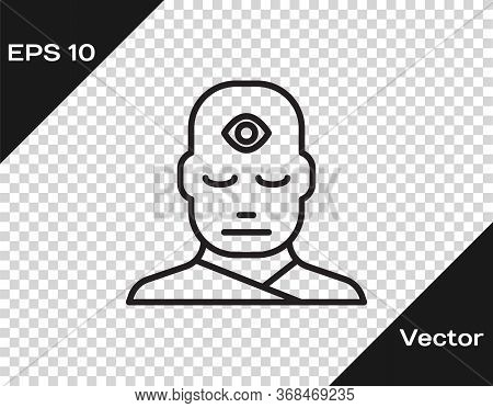 Black Line Man With Third Eye Icon Isolated On Transparent Background. The Concept Of Meditation, Vi