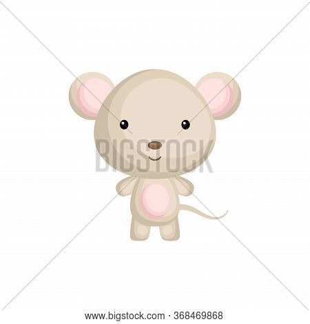 Cute Baby Mouse. Adorable Cartoon Animal Character For Decoration And Design Of Album, Scrapbook, Ba