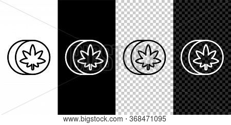 Set Line Herbal Ecstasy Tablets Icon Isolated On Black And White Background. Vector Illustration.
