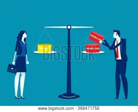 Person Workload And Salary. Restructure The Position Concept. Flat Cartoon Vector Illustration