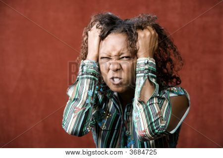 Angry Pretty African-American Woman