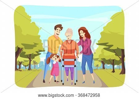 Care, Family, Support, Walking Concept. Granddaughter And Man Dad With Woman Mother Help Grandmom Se