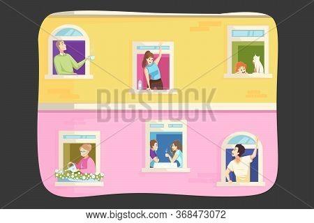 Coronavirus, Quarantine Concept. Men Women People Families Neighbors In Their Own Houses Apartments
