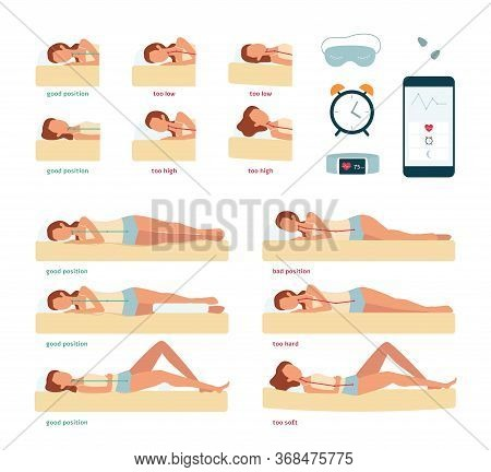 Set Of Correct And Incorrect Postures And Positions For Sleeping And Back Of Woman On Mattress.