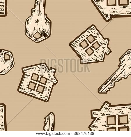 Seamless Pattern, Beige Color. Set Key With A Keychain House. Sketch Scratch Board Imitation.