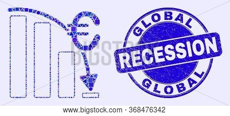 Geometric Euro Crisis Chart Mosaic Pictogram And Global Recession Seal Stamp. Blue Vector Rounded Te