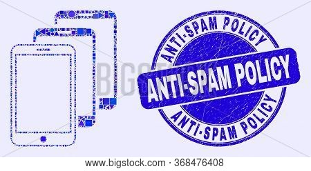 Geometric Smartphones Mosaic Pictogram And Anti-spam Policy Seal. Blue Vector Round Textured Seal St