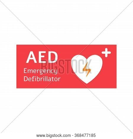 Automated External Defibrillator Red Banner With White Heart.