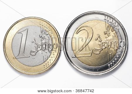 One and two euros coins