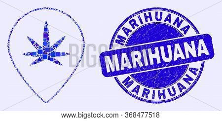 Geometric Cannabis Map Marker Mosaic Pictogram And Marihuana Seal Stamp. Blue Vector Round Textured