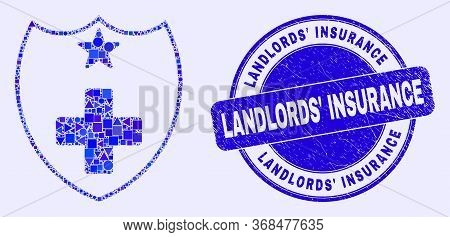 Geometric Medical Shield Mosaic Pictogram And Landlords' Insurance Seal Stamp. Blue Vector Round Gru