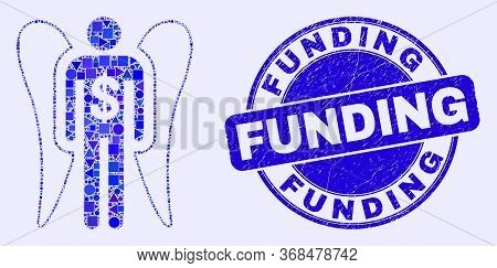 Geometric Angel Investor Mosaic Pictogram And Funding Stamp. Blue Vector Round Grunge Seal Stamp Wit