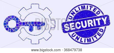 Geometric Key Options Gear Mosaic Icon And Unlimited Security Seal Stamp. Blue Vector Rounded Distre