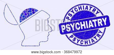 Geometric Open Mind Mosaic Icon And Psychiatry Seal Stamp. Blue Vector Round Distress Seal Stamp Wit