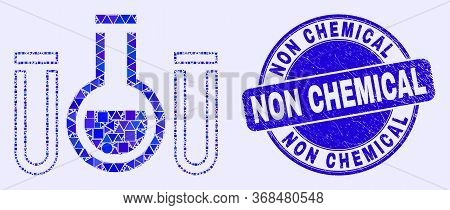 Geometric Chemical Tubes Mosaic Icon And Non Chemical Seal Stamp. Blue Vector Round Distress Seal Wi