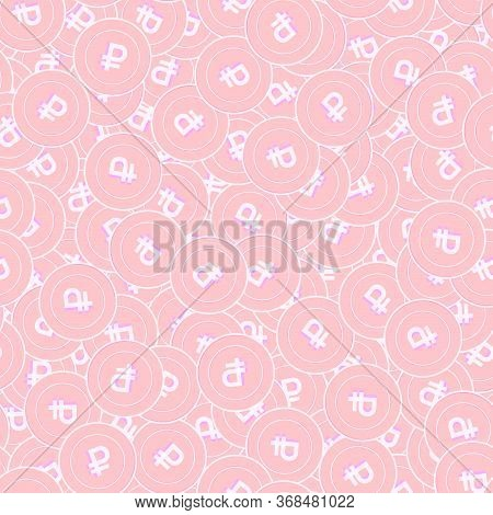 Russian Ruble Copper Coins Seamless Pattern. Favorable Scattered Pink Rub Coins. Success Concept. Ru
