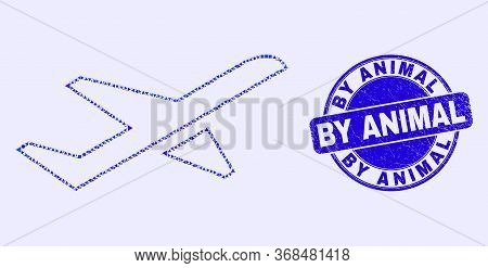 Geometric Airplane Takeoff Mosaic Icon And By Animal Stamp. Blue Vector Round Scratched Stamp With B