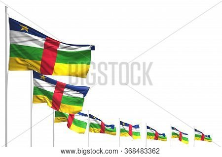 Beautiful Day Of Flag 3d Illustration  - Many Central African Republic Flags Placed Diagonal Isolate