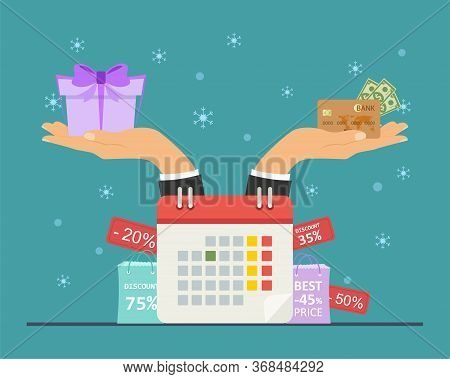 Christmas Discount Concept. Christmas Shopping, Time To Give Presents. Have Time To Buy A Gift With