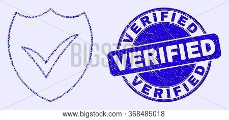 Geometric Valid Shield Mosaic Icon And Verified Seal Stamp. Blue Vector Rounded Grunge Seal Stamp Wi