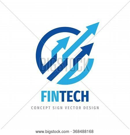 Fintech Logo Template Design. Abstract Business Finance Sign. Arrows Trend Creative Logo Symbol. Exc