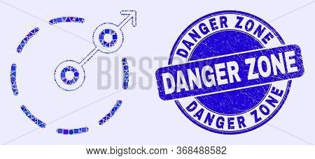 Geometric Radial Escape Border Mosaic Pictogram And Danger Zone Seal. Blue Vector Round Textured Sea