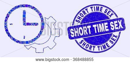 Geometric Time Settings Gear Mosaic Pictogram And Short Time Sex Seal Stamp. Blue Vector Round Grung