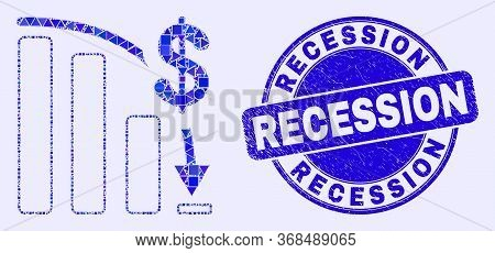 Geometric Bankruptcy Bar Chart Mosaic Icon And Recession Seal. Blue Vector Round Textured Seal Stamp