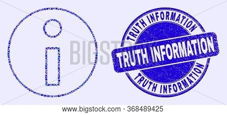 Geometric Information Mosaic Pictogram And Truth Information Seal. Blue Vector Rounded Textured Seal