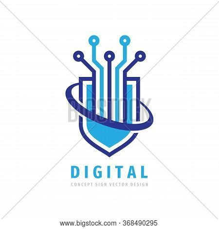 Data Protection - Logo Vector Illustration. Abstract Shield Symbol With Electronic Logo Design Eleme