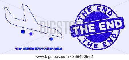 Geometric Airplane Arrival Mosaic Pictogram And The End Seal. Blue Vector Round Grunge Seal With The