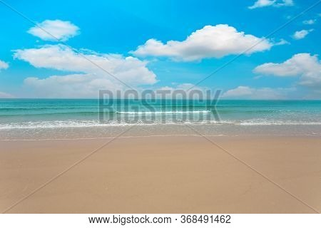 Tropical Paradise Beach With White Sand And Blue Sky And Cloud Background. Travel To Paradise. Tropi