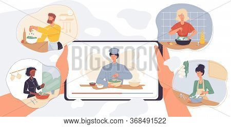 Online Cooking Courses, Culinary Master Class Service. Internet School Mobile Application. Digital C