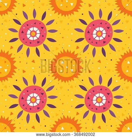 Little Cute Sun And Flower On Yellow Backdrop. Summer Holidays. Wildlife, Nature. Mexico Element, De