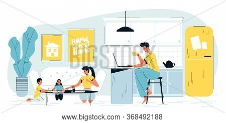 Busy Father Freelancer Work Online On Laptop At Home Office. Mother Educator Teaching Toddler Childr