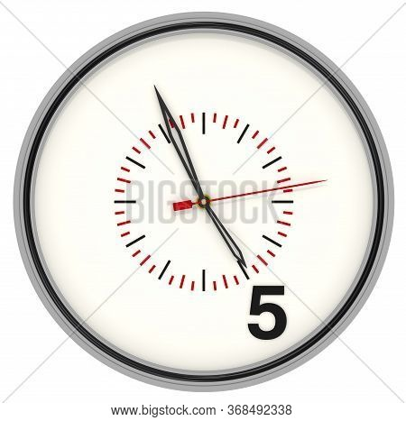 The Clock Shows The End Of Working Hours. Round Analog Clock With Only Number 5 (five) On The Dial.