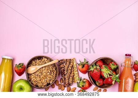 Breakfast Concept Healthy Diet Food Coconut Bowl With Muesli Bowl With Ripe Strawberry Green Apple M
