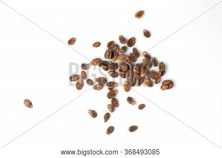 Watermelon Seeds. Seeds Close-up. Seeds On A White Background