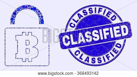 Geometric Bitcoin Lock Mosaic Pictogram And Classified Seal Stamp. Blue Vector Round Grunge Seal Sta