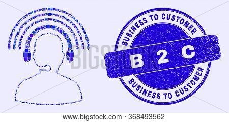 Geometric Radio Operator Mosaic Pictogram And Business To Customer B 2 C Seal Stamp. Blue Vector Rou