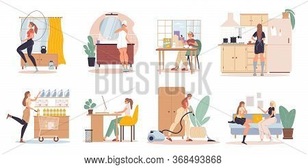 Woman Character Work Recreation Daily Life Routine Scenes Set. Everyday Work Activities. Morning Wor