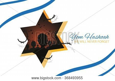Holocaust Remembrance Day 27th Of January Template. Jewish Star Of David And Shadows Of People Silho